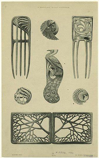 Art Nouveau Designs | Bijoux modernes (c. 1900) from a series of Art Nouveau designs by Rene ...