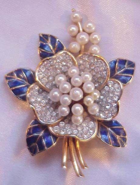 Vintage Crown Trifari Brooch Pin Faux Pearls, Rhinestones and Enamel