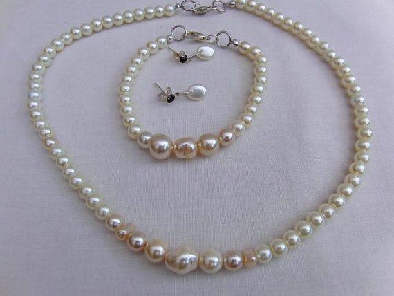 Cream Pearl Bridal Jewellery Set Necklace Bracelet