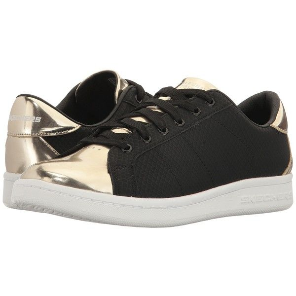SKECHERS Omne - Jungle Jog (Black/Gold) Women's Lace up casual Shoes ($60) ❤ liked on Polyvore featuring shoes, kohl shoes, gold shoes, gold lace up shoes, skechers footwear and black lace up shoes