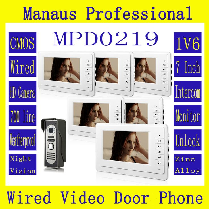 Professional Wired SmartHome 7Inch TFT LCD Screen Video Intercom Phone,One to Six Video Doorphone Doorbell Configuration D219