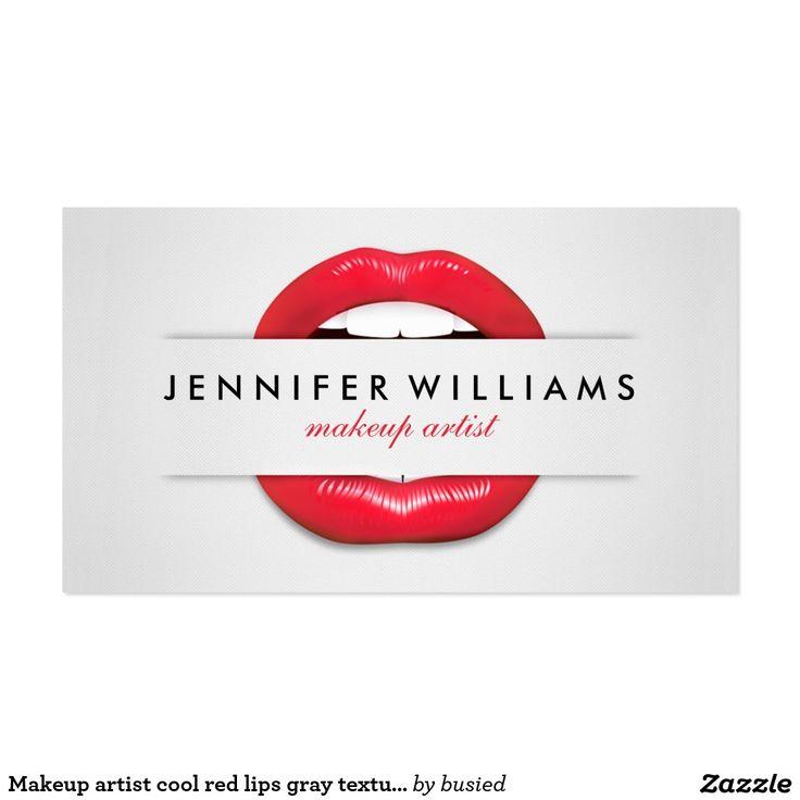 Makeup artist cool red lips grey texture modern pack of standard business cards