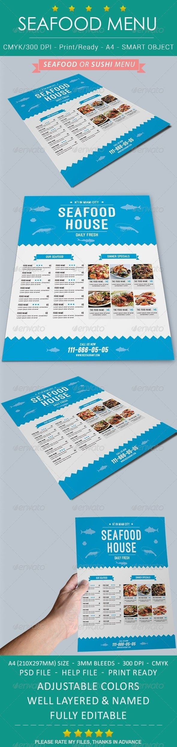 Seafood Sushi Restaurant Menu Template #design Download: http://graphicriver.net/item/seafood-sushi-restaurant-menu/8674922?ref=ksioks