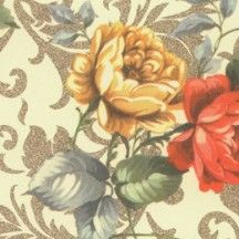 Vintage Jaquard Tea Roses Italian Paper ~ Kartos Italy