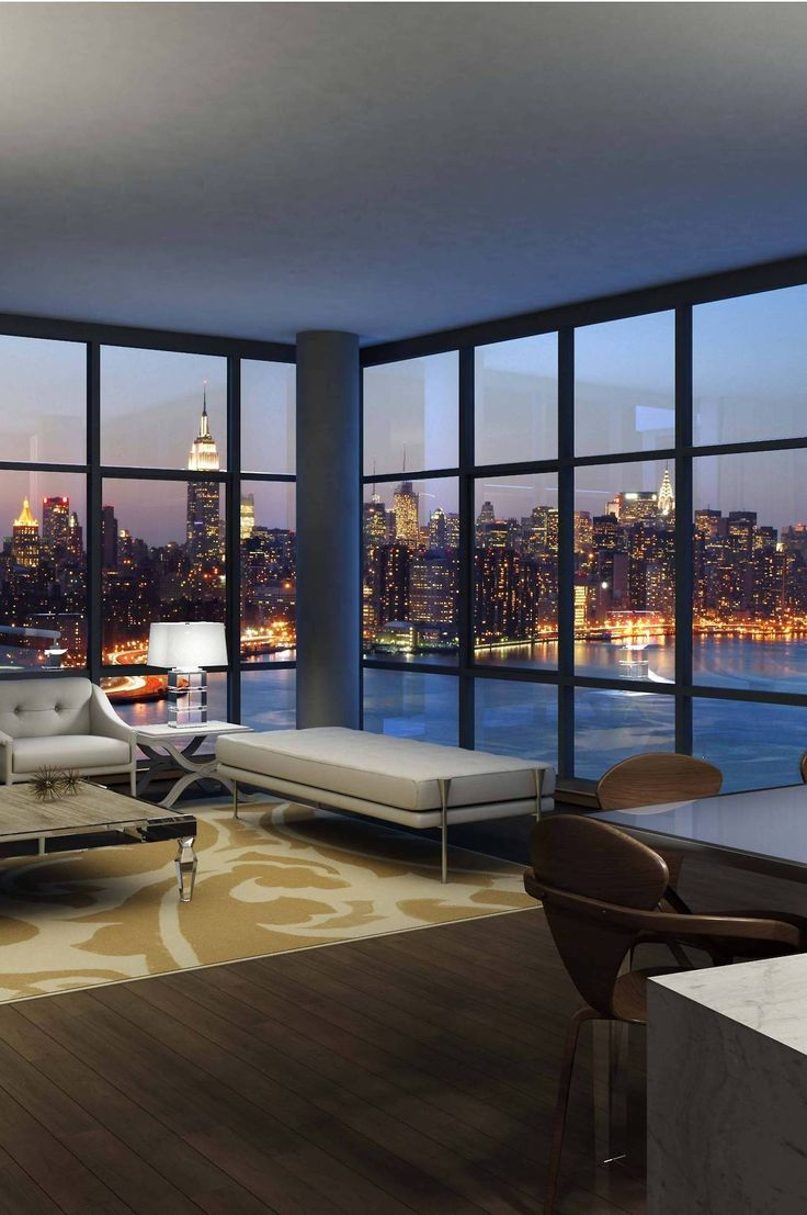 Floor to ceiling windows, with a bright panoramic view! I LOVE MY #NewYork #apartment!