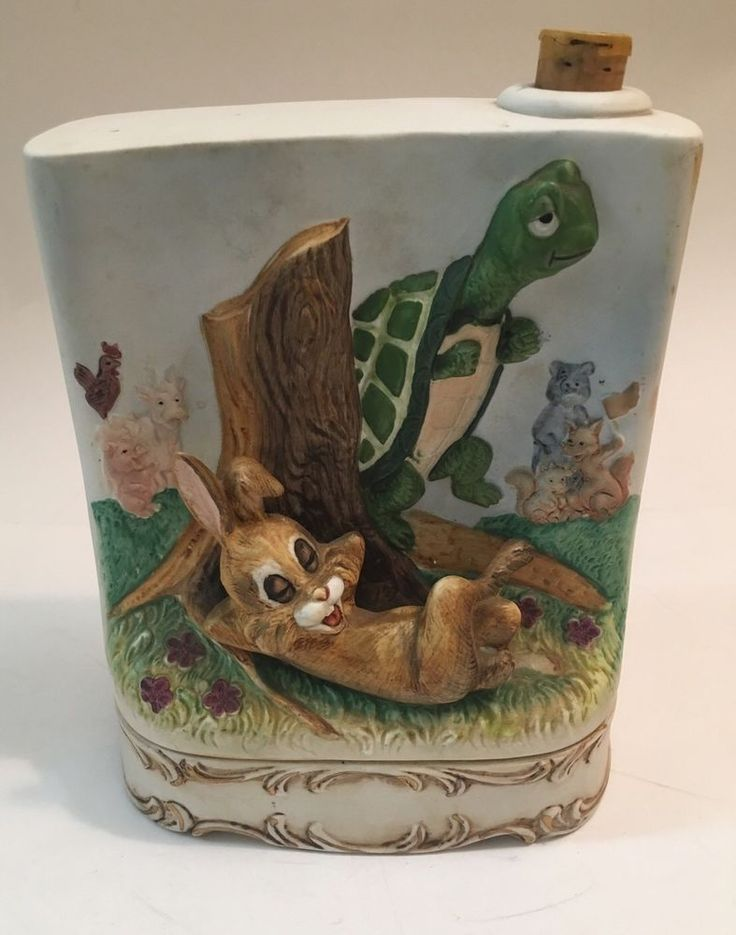 Vintage 1977 Fred Lammert The Tortoise & the Hare Music Box Whiskey Decanter