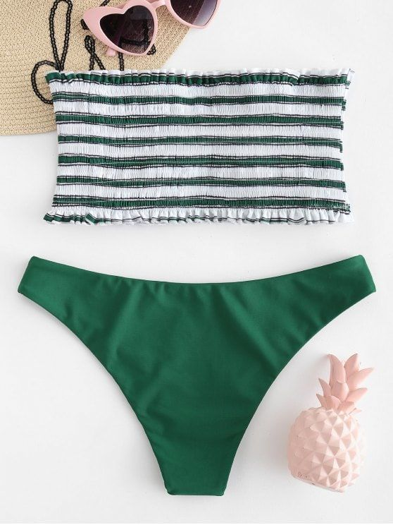 08ae131ffc934 ZAFUL Stripe Smocked Bandeau Bikini Set - MEDIUM SEA GREEN S