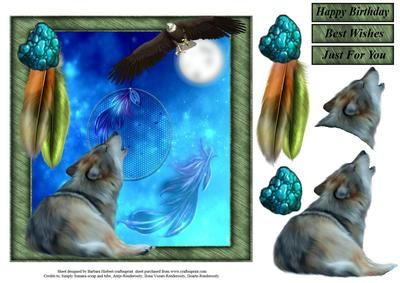 Wolf in the Moonlight Topper with Decoupage on Craftsuprint - Add To Basket!