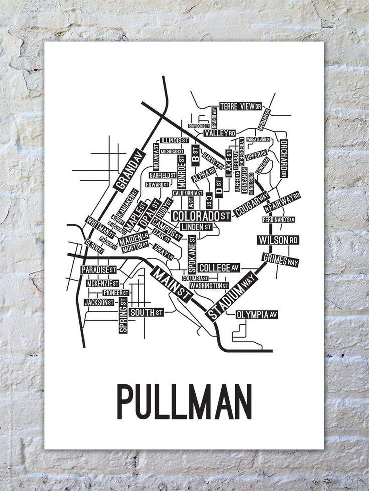 Pullman, Washington Street Map Print