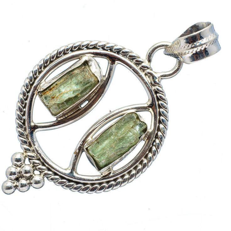 "Ana Silver Co Rough Green Kyanite 925 Sterling Silver Pendant 1 1/2"" PD414633 #AnaSilverCo"