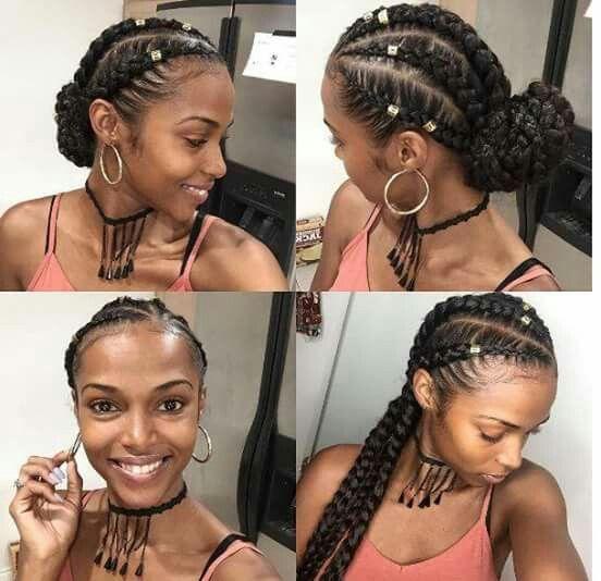 5 braids with hair jewelry