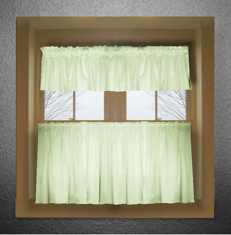 solid light green colored caf style curtain includes 2 valances and 2 kitchen curtain panels
