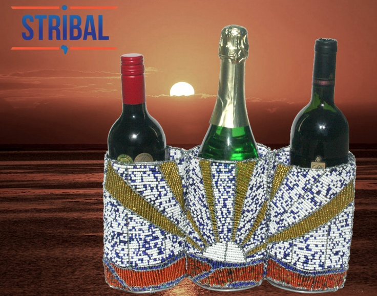 Our latest Stribal wire beaded Art piece - Beautifully designed to hold three wine bottles.    Let the celebrations begin!