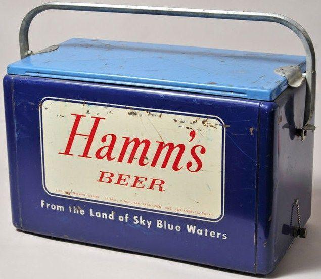 Antique Hamms Beer Cooler-Aluminum Steel