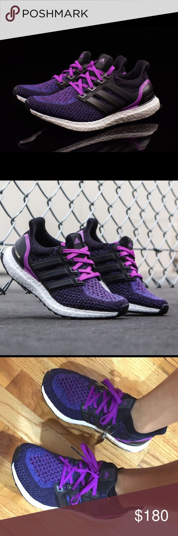 Nordstrom Adidas ultra boost women purple 8 Have receipt from Nordstrom basically new worn around house but too big for my feet.  Paid 196 including tax. Includes box and receipt upon request.  This is for a size 8. Color is called black / ice blue.  Excellent condition 10/10. adidas Shoes Athletic Shoes