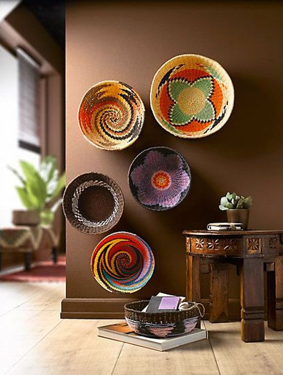 Swazi Bowls   A Great Way To Display Them. Great Colours That Go Well With  The Brown Walls ( We Can Also Add African Inspired Hand Painted Bowls)