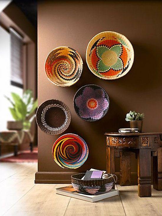 Pratos decorativos de palha para parede: