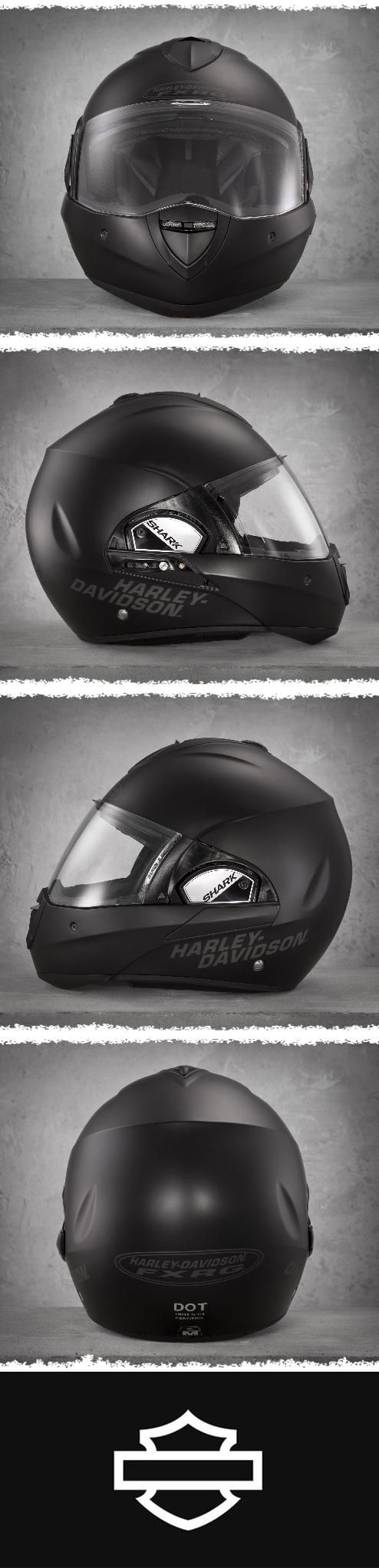 This full face helmet is one of our most exceptional offerings with an extensive list of innovations including the first time ever offering a helmet that converts from a full-face to an open-face. | Harley-Davidson Men's FXRG Dual-Homologated Helmet with Integrated Sun Shield