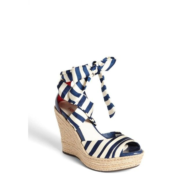 UGG Australia 'Lucianna' Sandal ($45) ❤ liked on Polyvore featuring shoes, sandals, navy, wedges shoes, woven wedge sandals, high heel wedge sandals, navy wedge sandals and strappy platform sandals