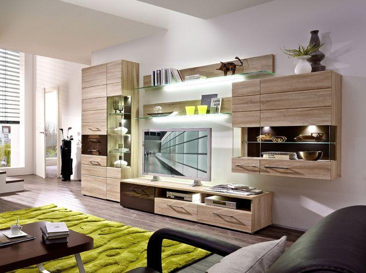 Wohnwand modern braun for Wohnzimmerschrank eiche modern