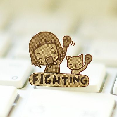 Cute! I really like this. I think this might be re-creatable? (''fighting'' is what Koreans say to encourage one another.)