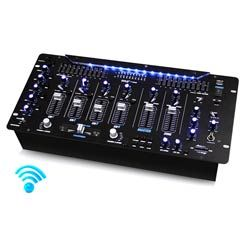 "Pyle (PYD1964B) Bluetooth 6-Channel DJ Mixer 19"" 5U Rack Mount System Digital LED Illuminated Controls"