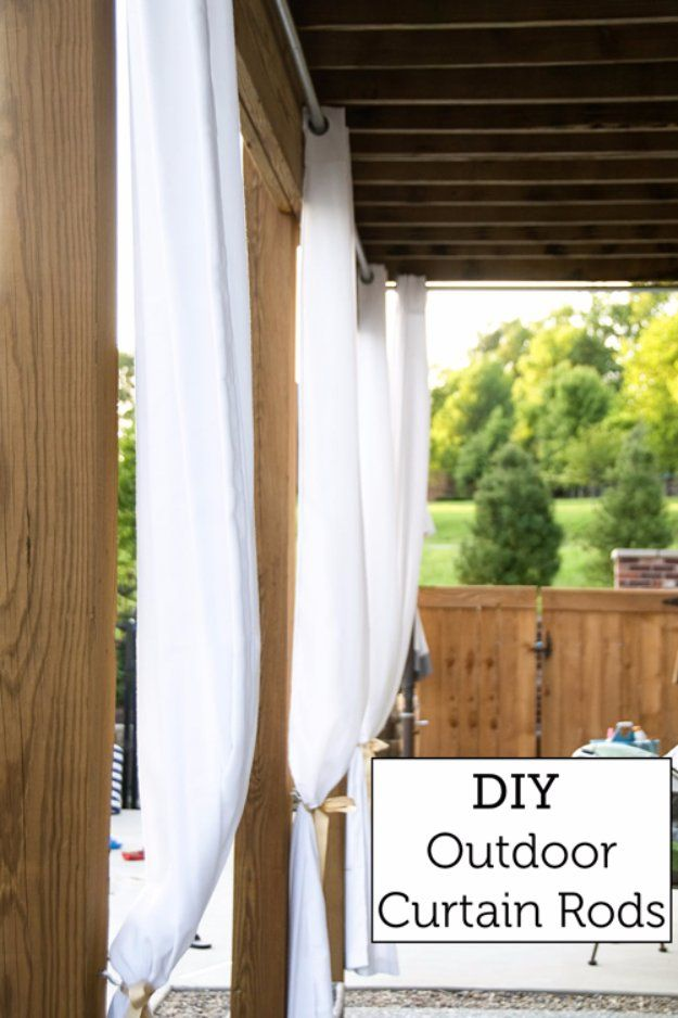 DIY Porch and Patio Ideas - DIY Outdoor Curtain Rods - Decor Projects and Furniture Tutorials You Can Build for the Outdoors -Swings, Bench, Cushions, Chairs, Daybeds and Pallet Signs  http://diyjoy.com/diy-porch-patio-decor-ideas