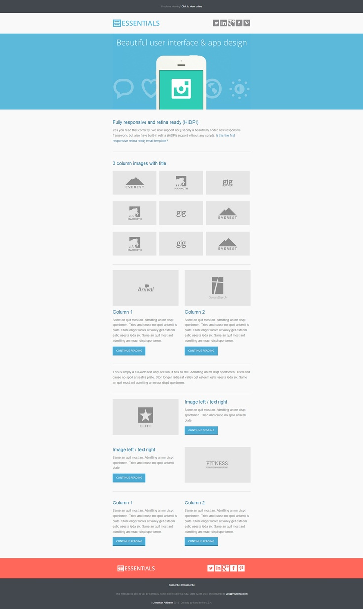 Newsletter / emailing template - essentials