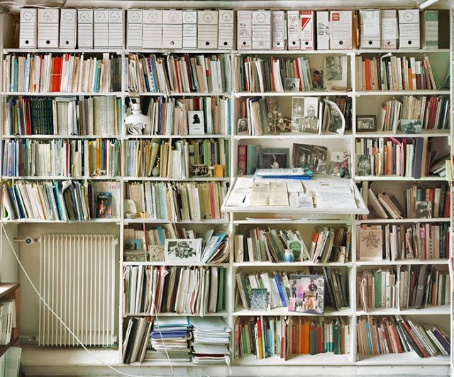 Jacques Derrida's room of his published books in his home in Ris Orange, France, 2001. Photograph by Andrew Bush