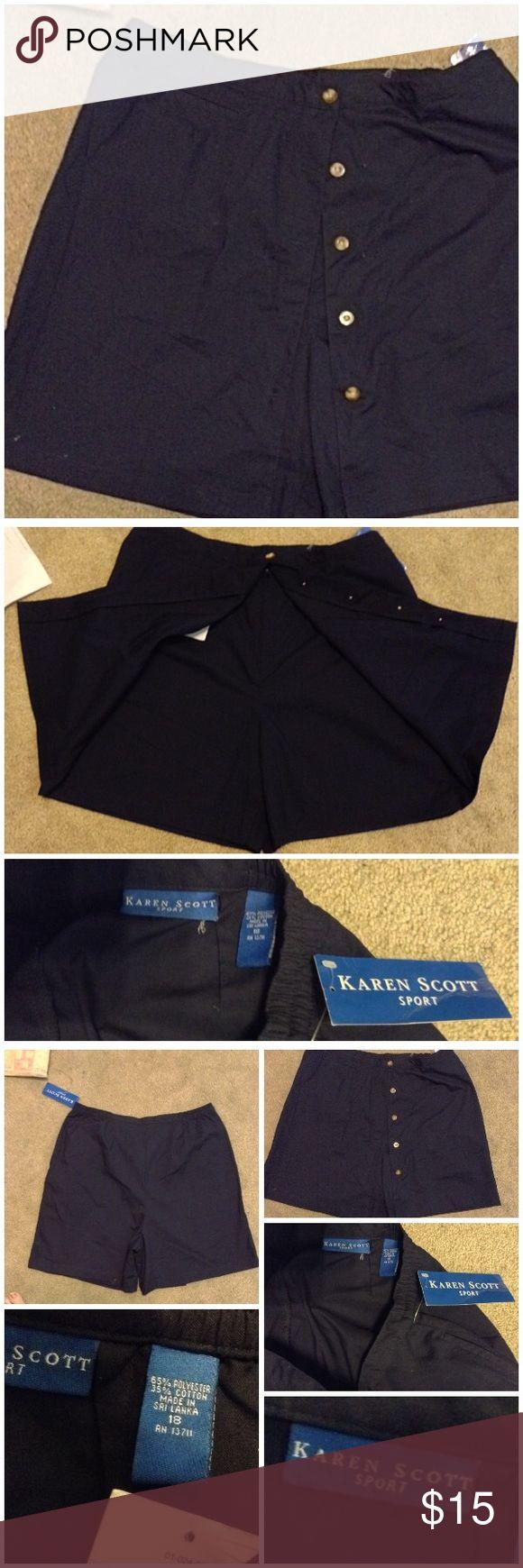 "NWT Karen Scott Sport Skort 18 XXL XL Navy Blue Skort by Karen Scott Sport. Navy blue button up front- wear buttoned or not! Size 18 W. Side back elastic.  Waist measures- ""36-38"" length -20"" 35% cotton-- 55% polyester and once again this is NWT Karen Scott Shorts Skorts"