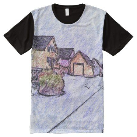 Many houses drawing All-Over-Print shirt - tap, personalize, buy right now!