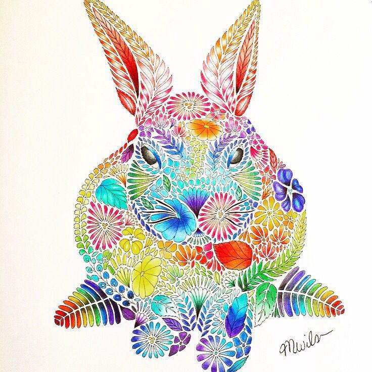 Rainbow rabbit from the Millie Marotta Animal Kingdom colouring book Instagram- @meesharose93