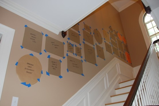 This is how I figure out picture placement. It's a great trick so you're not putting tons of holes in your walls.