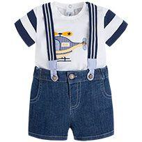 Conjunto camiseta y pantalón corto tejano con tirantes