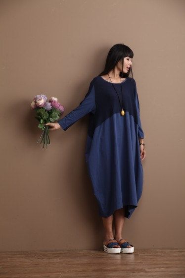 Casual Loose Fitting Long Sleeved Cotton Long Dress
