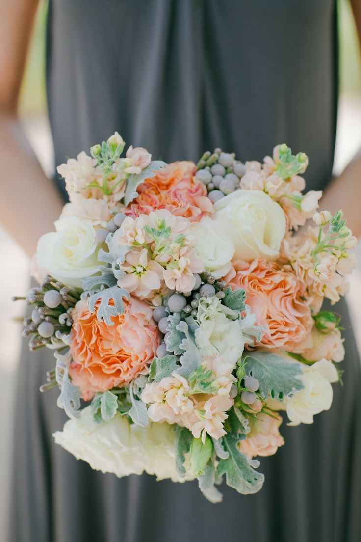 Peach, ivory, and sage green bouquet.LOVE LOVE LOVE LOVE. . . I want these for my wedding 100%