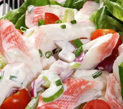 Tasty Imitation Crab Salad Recipe   AmazingSeafoodRecipes with greek yogurt instead of sour cream??