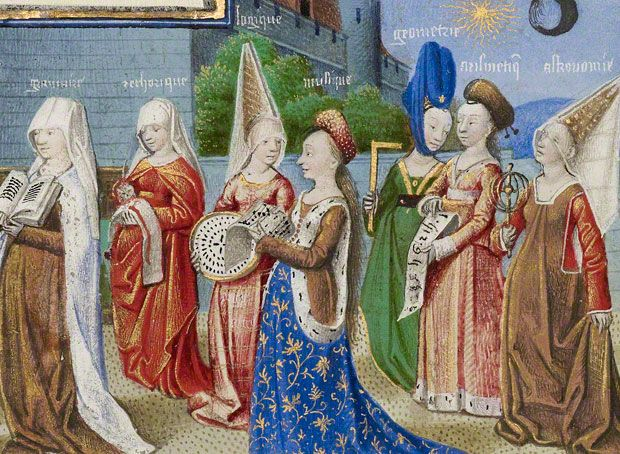 """""""Philosophy Presenting the Seven Liberal Arts to Boethius"""" from the manuscript The Consolation of Philosophy.  It is from around 1450, at the end of the era of Medieval fashion and just before the Renaissance started changing clothing.  The women wear a variety of gown styles, including sideless surcoats over cotehardies and the v-necked, high-waisted """"Burgundian"""" gown.  They all wear either wimples or hennins in different fashions, some veiled."""