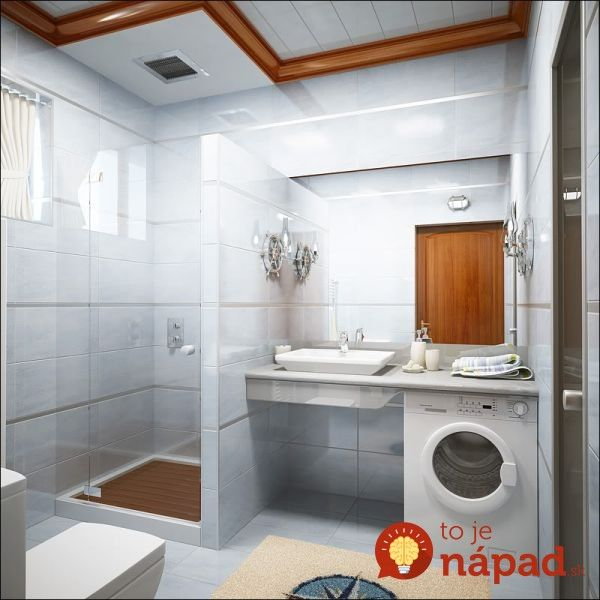 Perfect Small Bathroom Design Idea In White Interior Nuance With Simple White Vessel Sink And Mirror And Washing Machine And Shower Also Beige Rug And