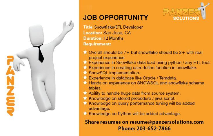 Job title snowflakeetl developer location san jose
