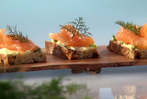 Smoked Salmon on Irish Soda Bread with Chive Butter Recipe : Food Network - FoodNetwork.com