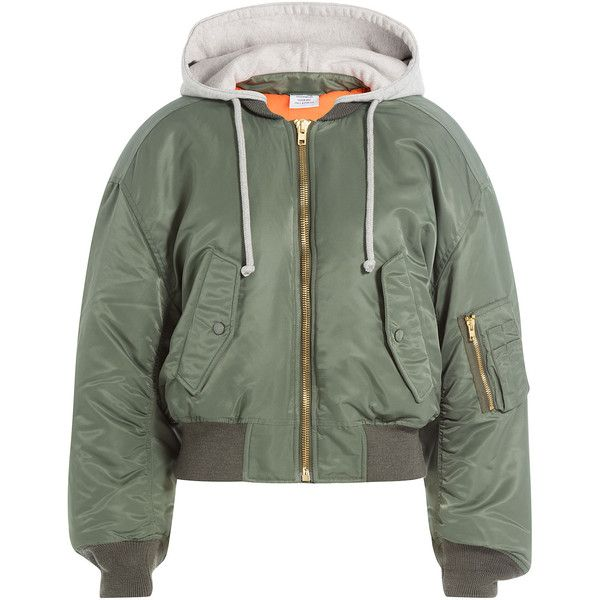 Vetements Bomber Jacket (2,495 CAD) ❤ liked on Polyvore featuring outerwear, jackets, green, hooded drawstring jacket, green jersey, hooded jacket, hooded bomber jacket and bomber style jacket