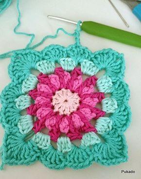 Roseta em crochet 2