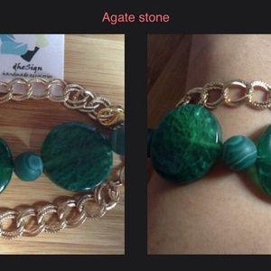 Green agate natural stone #gelang #gelangbatu
