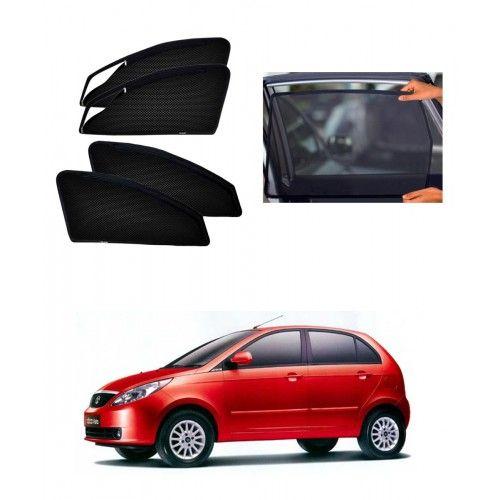 Carhatke-Zipper Magnetic Car Sunshades-Curtain For Tata Indica Vista Set Of 4