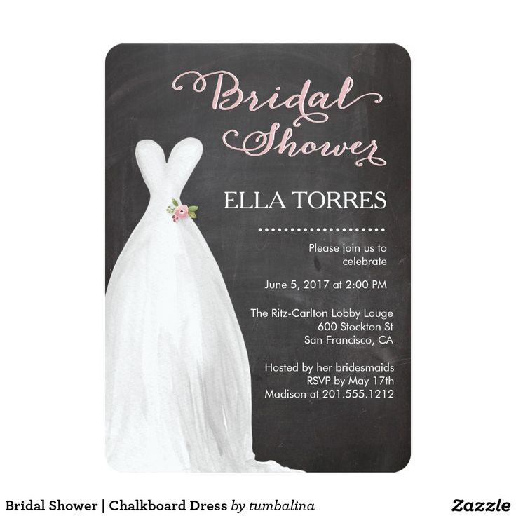 zazzle wedding invitations promo code%0A Bridal Shower   Chalkboard Dress Card