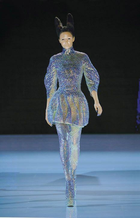 """Alexander McQueen  """"Jellyfish"""" Ensemble  in 'Plato's Atlantis', spring/summer 2010 . Dress, leggings, and """"Armadillo"""" boots all embroidered with iridescent enamel paillettes ."""