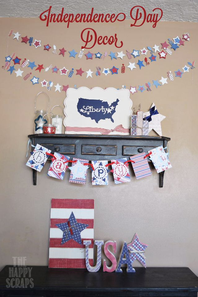 Independence Day Decor at www.thehappyscraps.com
