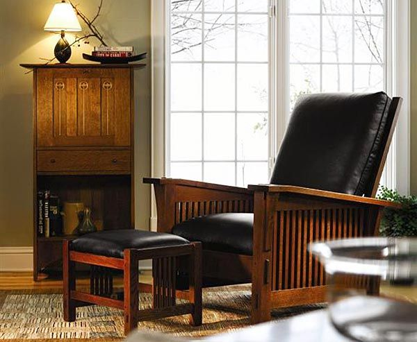 Stickley Furniture   Bow Arm Morris Recliner   Leather   Solid Wood  Furniture   Made In America   Knoxville Furniture   Bradenu0027s Lifestyles  Furiture ...