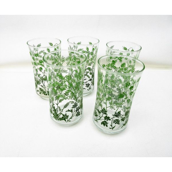 Mid Century Glasses, Drinking Glasses, Green Glassware, Libby Water... (37 CAD) ❤ liked on Polyvore featuring home, kitchen & dining, drinkware, mid century modern glassware, outdoor glassware, green water glasses, glass glassware and glass drinkware